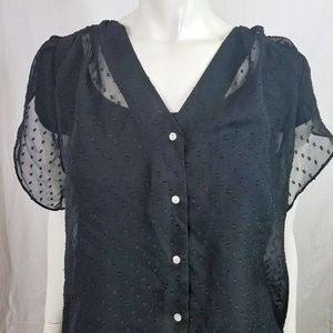 Sheer Button Up Short Sleeve Top Large / Plus